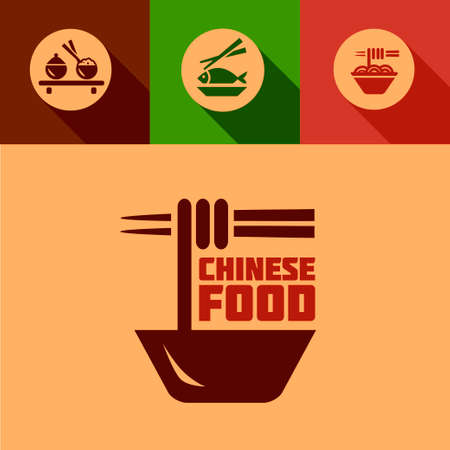 Chinese Food Design Elements in Flat Design Style. Vector