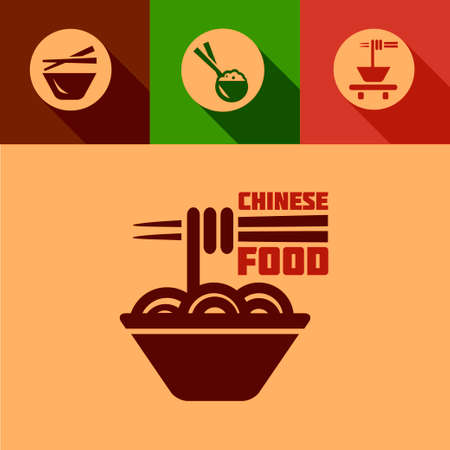 Flat Chinese Design Elements in Flat Design Style. Vector