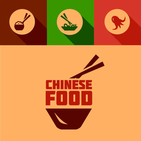 coctel de camarones: Chinese Food Design Elements en Flat Design Style. Vectores
