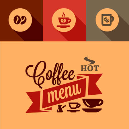 Illustration of Coffee Menu in Flat Design Style. Vector