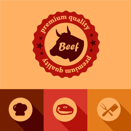 cooled: Illustration of Beef labels in Flat Design Style.