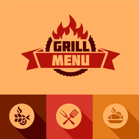 Illustration Grill Menu of in Flat Design Style. Stock Illustratie