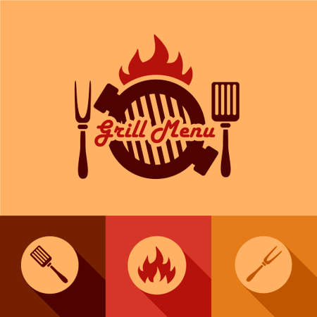Illustration Grill Menu of in Flat Design Style. Vector