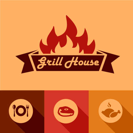 Illustration of Grill House Design Elements in Flat Design Style. Illustration