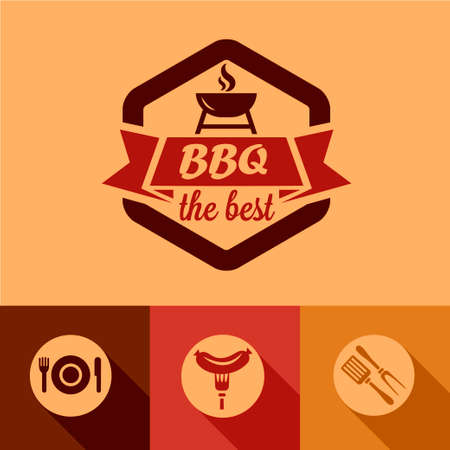 city live: Illustration of BBQ Design Elements in Flat Design Style.