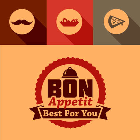 Illustration of Bon Appetit Label in Flat Design Style. Vector
