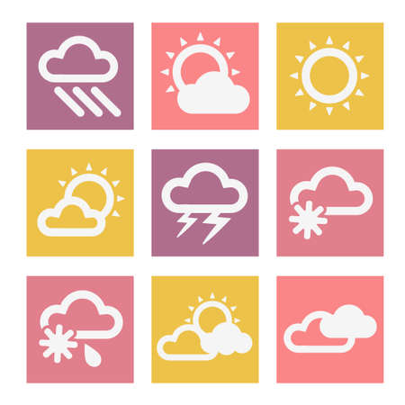 Illustration of Weather Icons in Flat Design Style.