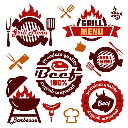 Illustration Grill-Menü Labels Set in Flat Design Style.