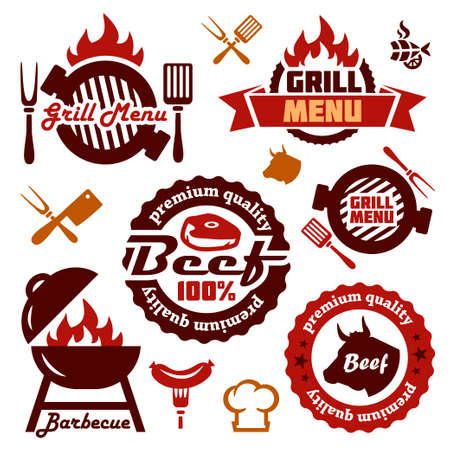 barbecue fire: Illustration Grill Menu Labels Set of in Flat Design Style.