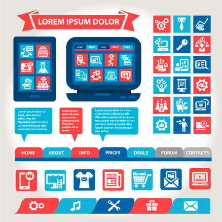 Flat Web And Mobile Interface. Design Elements. Vector