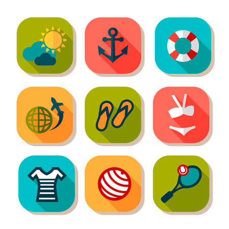 Summer Vacation Icons Set in Flat Design Style  Vector