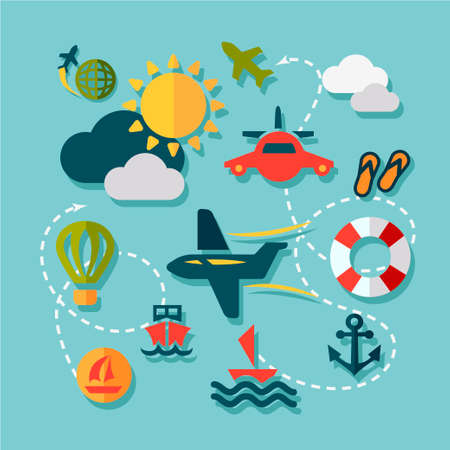 Summer Vacation Icons Set in Flat Design Style. Vector
