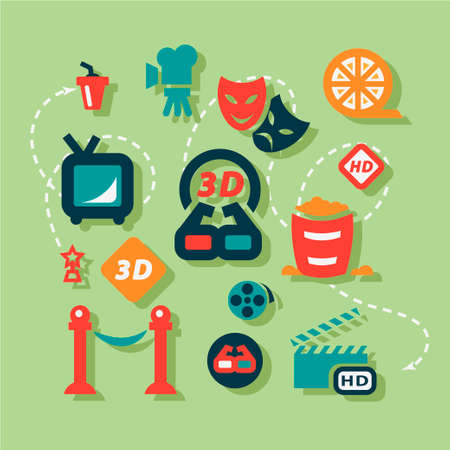 Movie Icons Set in Flat Design Style. Vector