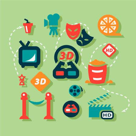 cine: Movie Icons Set in Flat Design Style. Illustration
