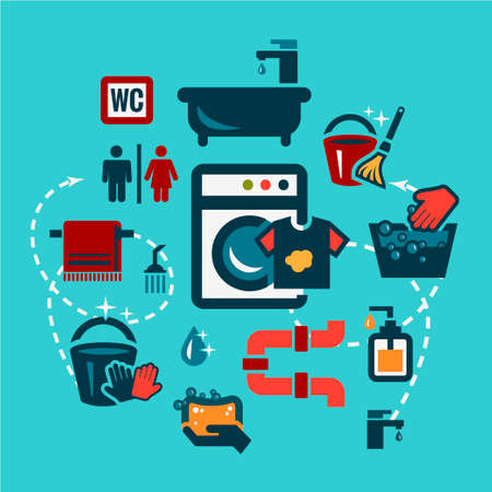 Cleaning  Icons Set in Flat Design Style. Vector