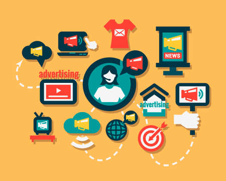 tradeswomen: Advertising Icons Set in Flat Design Style. Illustration