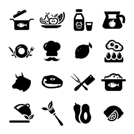 continental food: Elegant Food Icons Set Created For Mobile, Web And Applications.