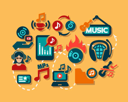 Flat Music Icon Set for web and mobile. Vector