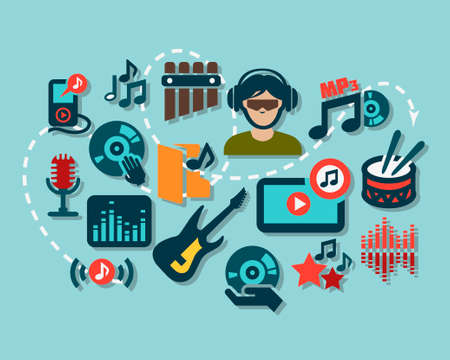disc jockey: Flat Music Icon Set for web and mobile. Illustration