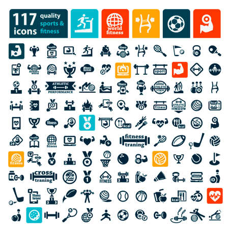 Fitness and Sport icons for web and mobile. Vector