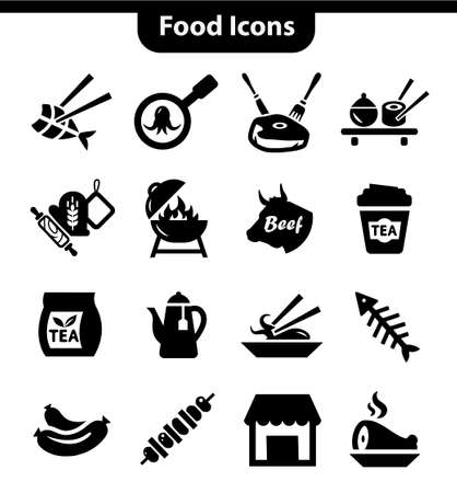 grill pattern: Food and Meat Icons Set for web and mobile.