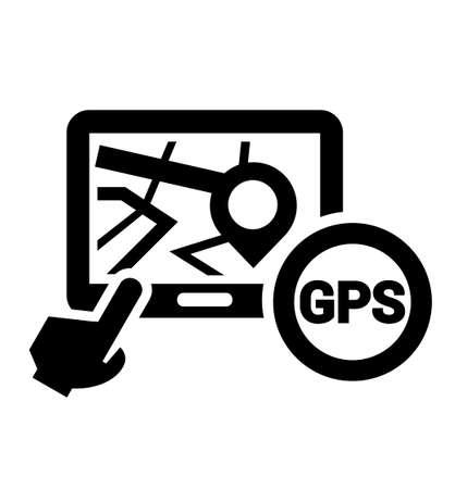 Black Elegant Navigation Icon on white background. Illustration