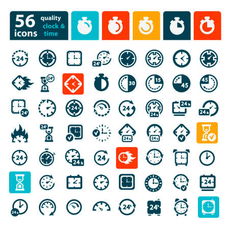 Big Color Clock Icon Set for web and mobile. Illustration