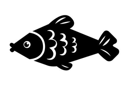 fish steak: Simple icon of cute fish isolated on white.