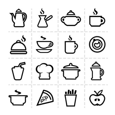 Line icon of food and drink, vector set.