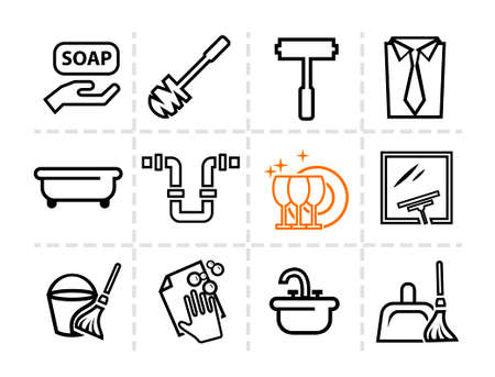 Elegant Vector Cleaning and Washing Line Icons Set. Vector