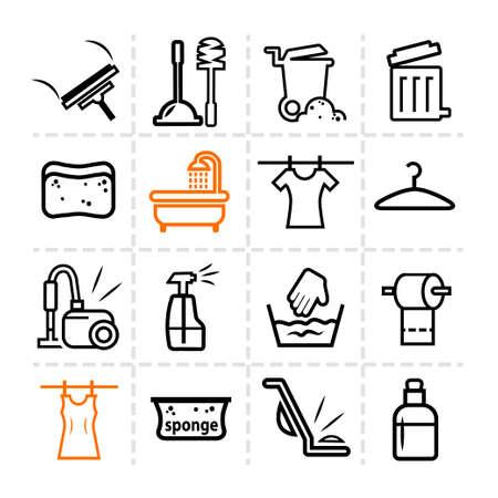 Elegant Vector Black Cleaning Line Icons Set Vector