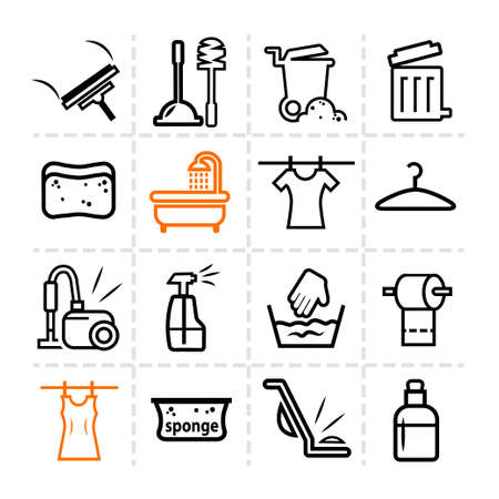 squeegee: Elegant Vector Black Cleaning Line Icons Set