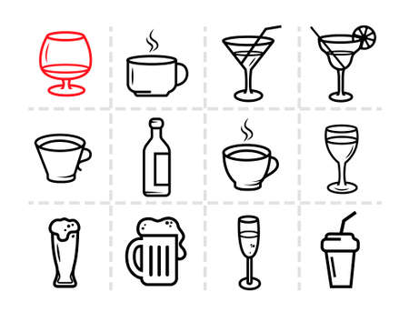 stroked: Drinks, Glass and bottles vector stroked icons. Illustration