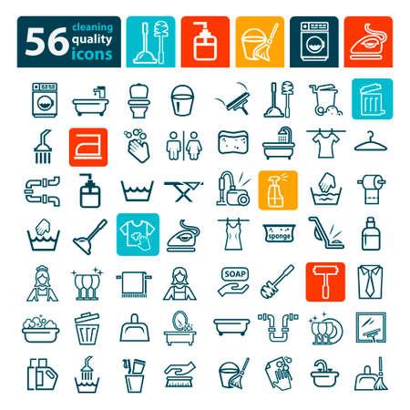 lavar trastes: Lavandería y lavado Iconos para web y móvil. Vectores