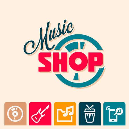 Emblema o logotipo elementos para la tienda de música, tienda de guitarras