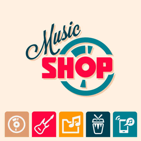 Emblem or logotype elements for music shop, guitar shop