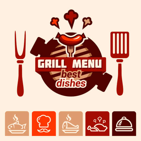 Set of badge, label, logo, icons design templates for meat store, grill menu