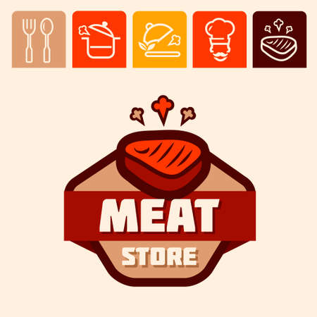 deli meat: Set of badge, label, icons design templates for meat store, grill menu