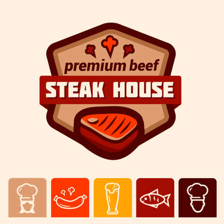 cook house: Set of badge, label, icons design templates for meat store, grill menu