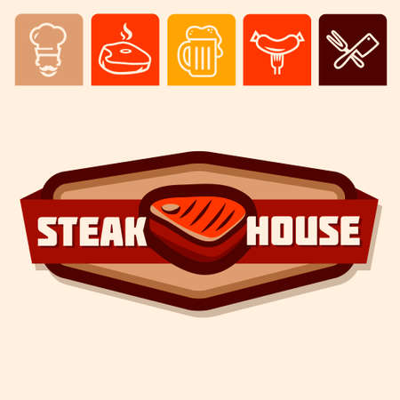 Set of badge, label, icons design templates for meat store Ilustrace