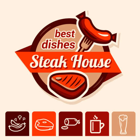 deli meat: Set of badge, label, icons design templates for grill house