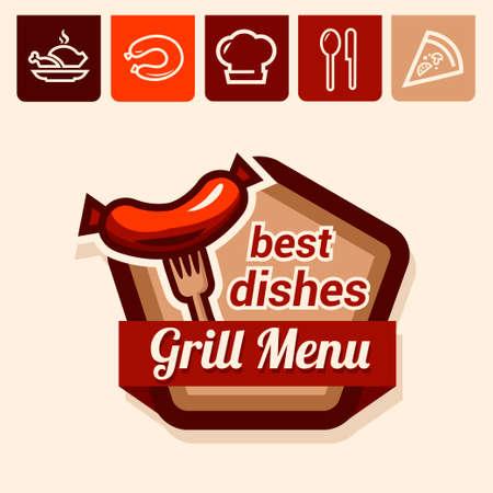 deli: Set of badge, label, icons design templates for grill menu Illustration