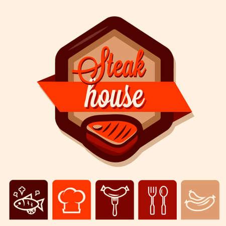 Set of badge, label, logo, icons design templates for steak house Vector