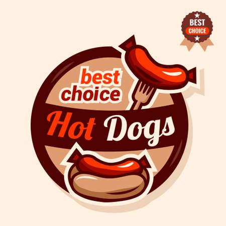 hot dog label: Set of badge, label, icons design templates for american hotdog. Illustration