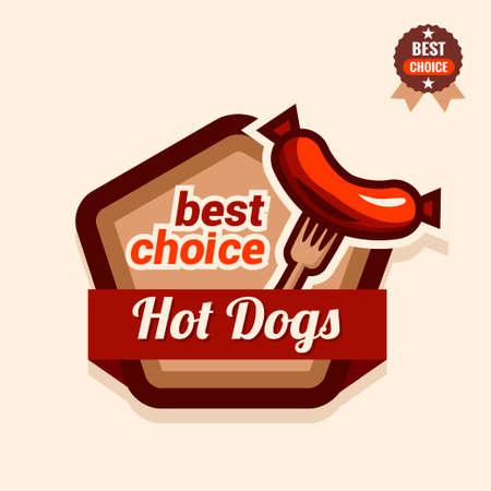 hotdog: Set of badge, label, icons design templates for american hotdog. Illustration