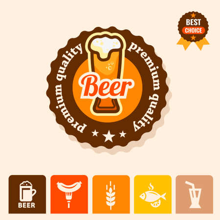 Label with beer mugs and the text Beer written inside, vector illustration. Vector