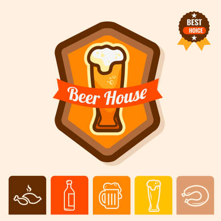 beer house: Label with beer mugs and the text Beer written inside, vector illustration.