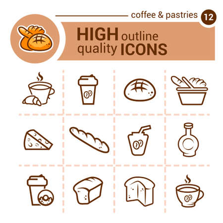 pastrie: Line flat icons of coffee and pastrie, vector set.