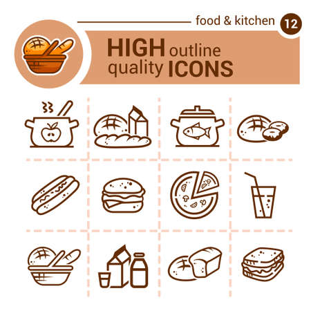 Line flat icons of food and kitchen, vector set.