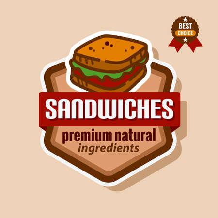 logo de comida: Icono de sándwich de color plano. Etiqueta de menú Sandwiches.